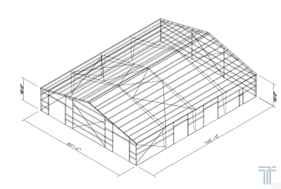 Our 8,000 sq ft steel buildings offer a clear span interior that allows for a flexible design